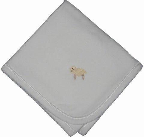 White Cotton Receiving Blanket with lamb