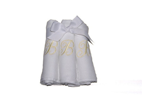 Personalized Diaper Burp Cloths with Single Initial