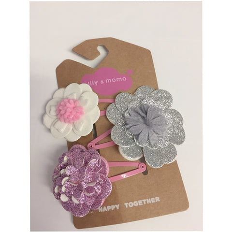 Sparkle flower hair clips