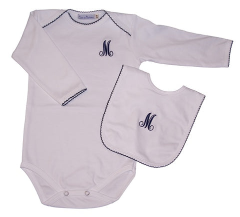 Personalized Long Sleeve Bodysuit with Navy Picot Trim (and Optional Matching Bib)