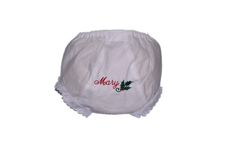 Monogrammed Girls Bloomer with Eyelet trim and Holly Design
