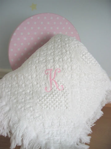 Monogrammed Cotton Throw Blanket