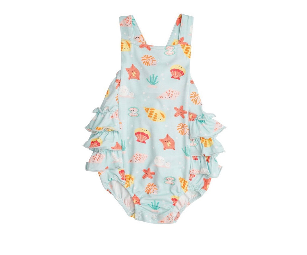 happy shells, ruffle bubble, ruffle sunsuit, baby girl sunsuit, baby girl clothing, new baby outfit, summer clothes for baby girl, angel dear