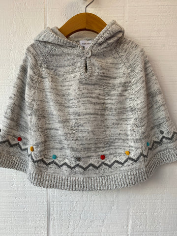 Girls Hooded Poncho in Gray