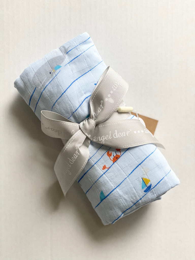 sea stripe, swaddle, swaddle blanket, muslin, baby boy, baby gift