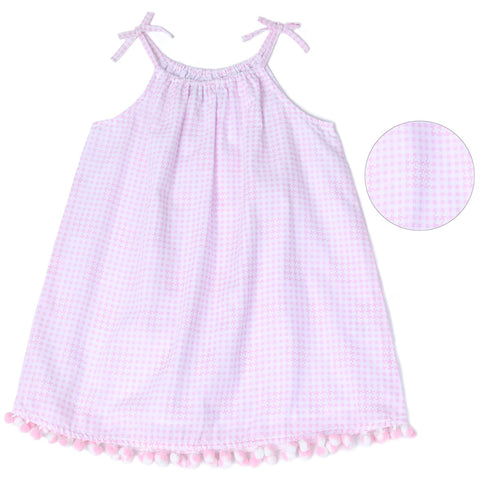 Pink Houndstooth Poplin Dress with pom pom trim