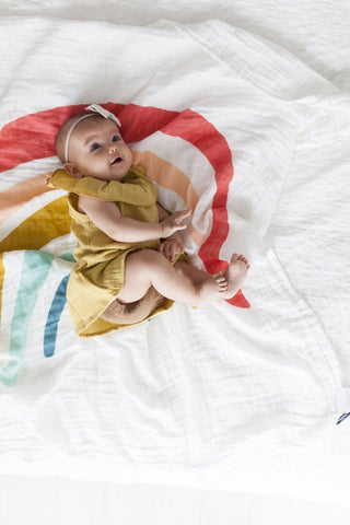 Rainbow swaddle, clementine kids, muslin swaddle, baby gift