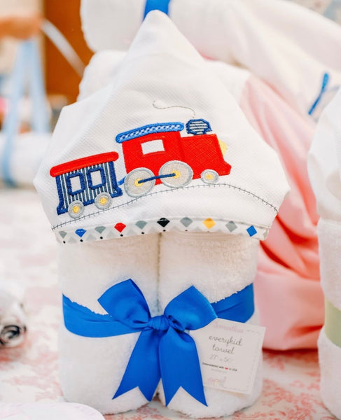 hooded towel, baby gift, trains, choo choo, toddler towel, baby boy gift, monogram