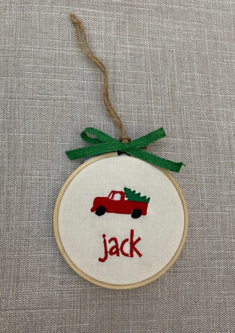 Truck with tree Personalized ornament