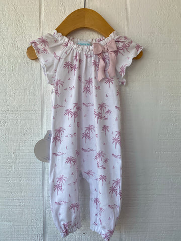 Pink Palm Tree Bow Romper