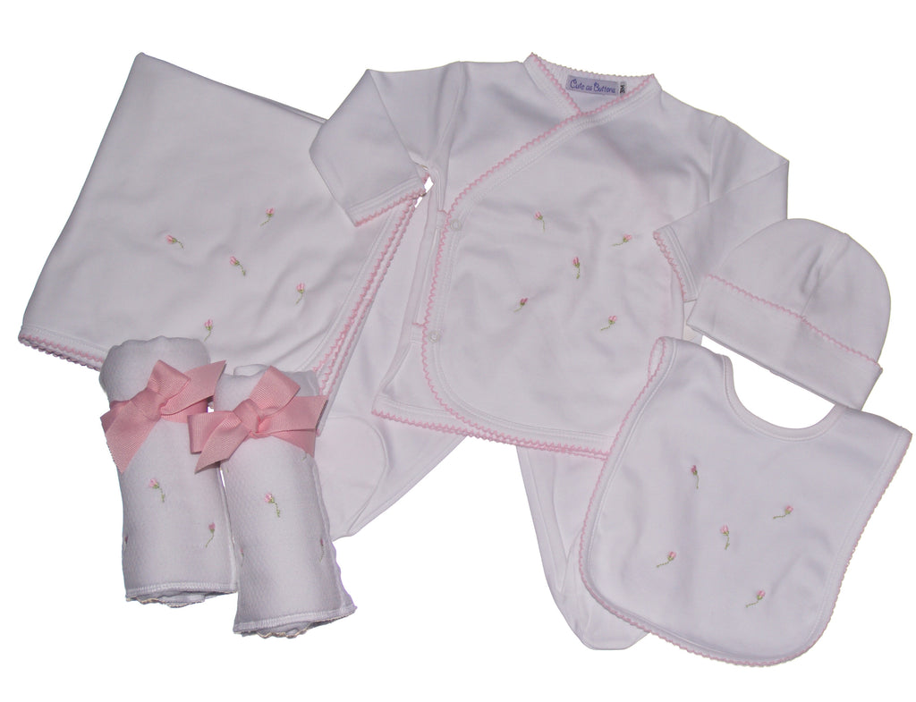 pima layette, baby girl clothing, newborn take me home outfit, rosebud clothing, baby girl blanket, rosebud bib, luxury layette