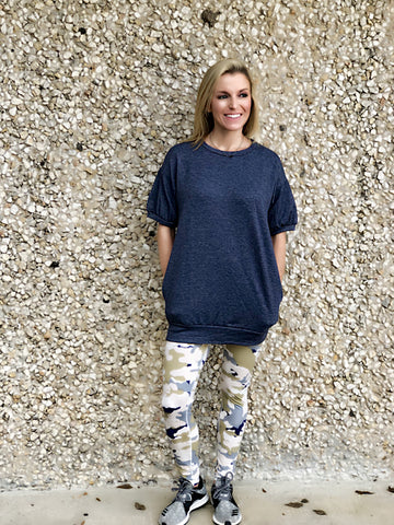 Navy Pouff Sleeve Top