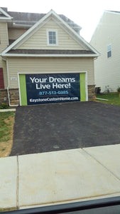 Banner Installed on Garage Door