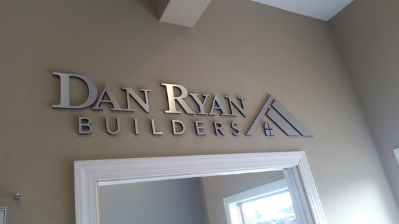 Brushed Silver Dimensional Logo