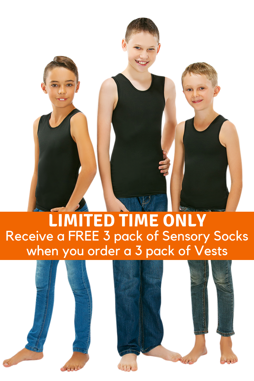 3 Pack Of CalmWear Sensory Vests | Boys - SAVE OVER $30 - PLUS 3 FREE SOCKS