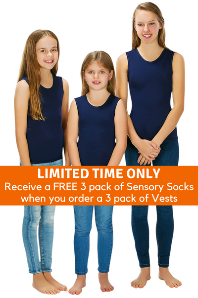 3 Pack Of CalmWear Therapy Vests | Girls - SAVE OVER $30 - PLUS 3 FREE SOCKS