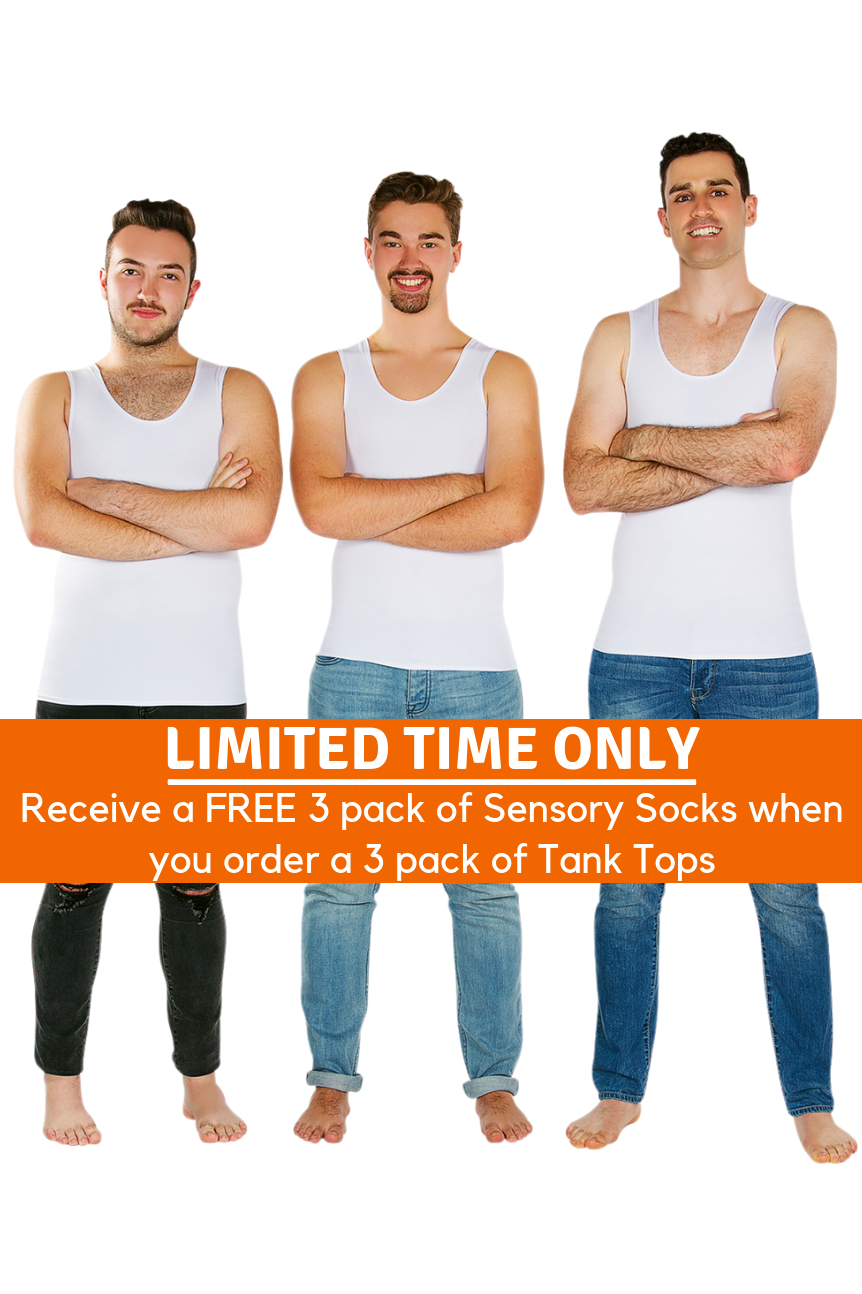 3 Pack Of CalmWear Sensory Vests | Men - SAVE OVER $30 - PLUS 3 FREE SOCKS