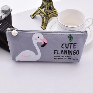 grey Flamingo Pencil Pouch - Stationery - Selling Social