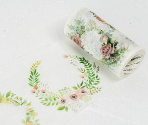 Floral Wreaths and Patterns- Floral Wreaths - Large Washi Tape - Stationery - Selling Social