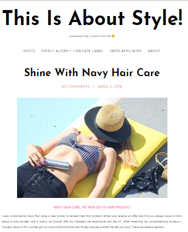 This Is About Style, Navy Hair Care reviews, hair care, product review