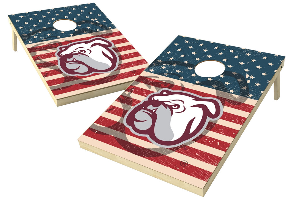 Mississippi State 2x3 Cornhole Board Set - American Flag Weathered