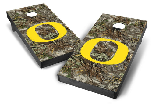 Oregon Ducks 2x4 Cornhole Board Set Onyx Stained - Realtree Max-1 Camo