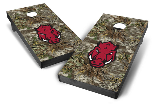Arkansas Razorbacks 2x4 Cornhole Board Set Onyx Stained - Realtree Max-1 Camo