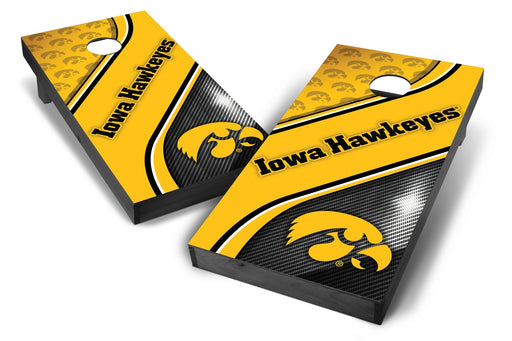 Iowa Hawkeyes 2x4 Cornhole Board Set Onyx Stained - Swirl