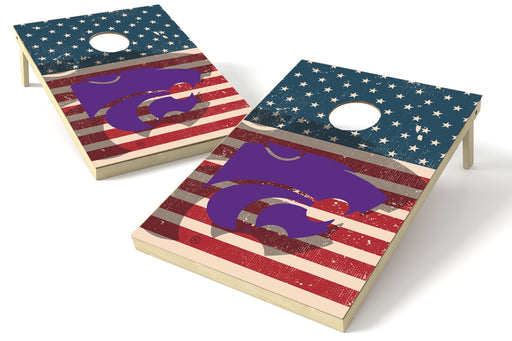 Kansas State 2x3 Cornhole Board Set - American Flag Weathered