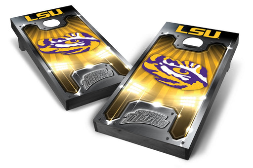 LSU Tigers 2x4 Cornhole Board Set Onyx Stained - Plate