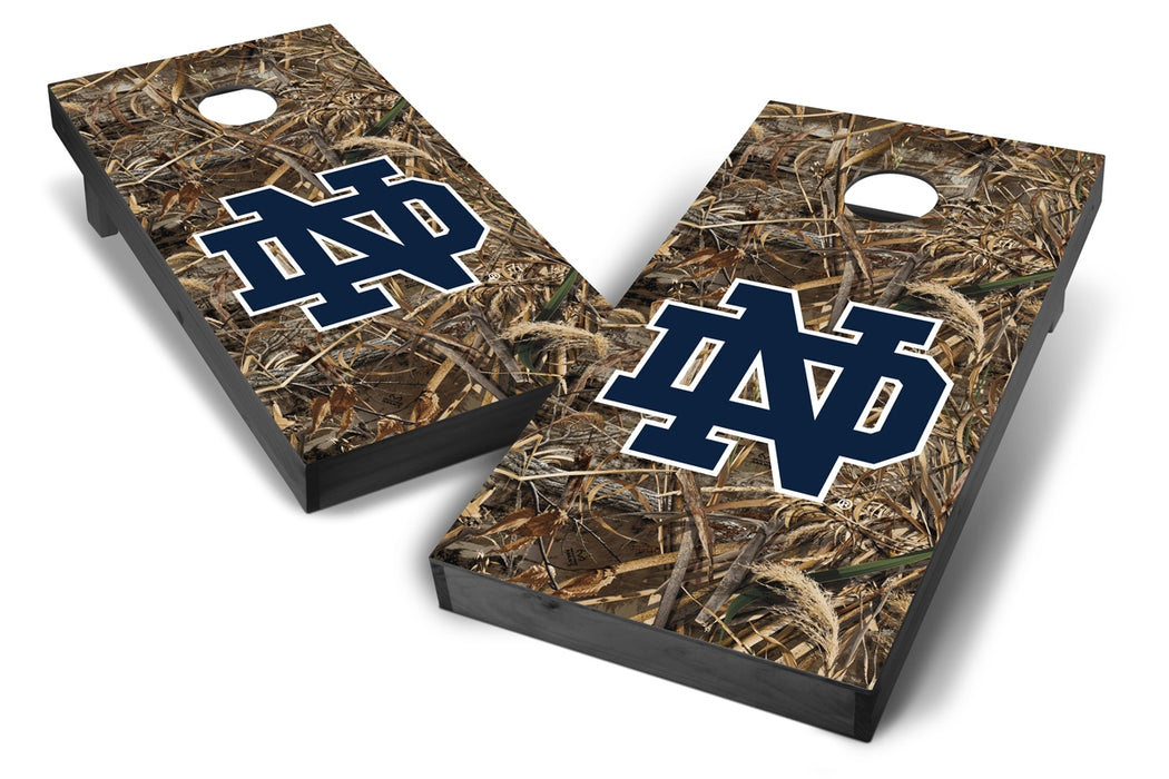 Notre Dame Fighting Irish 2x4 Cornhole Board Set Onyx Stained - Realtree Max-5 Camo