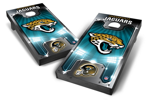 Jacksonville Jaguars 2x4 Cornhole Board Set Onyx Stained - Plate