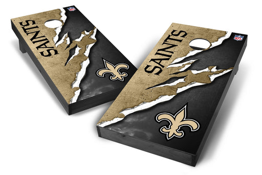 New Orleans Saints 2x4 Cornhole Board Set Onyx Stained - Ripped
