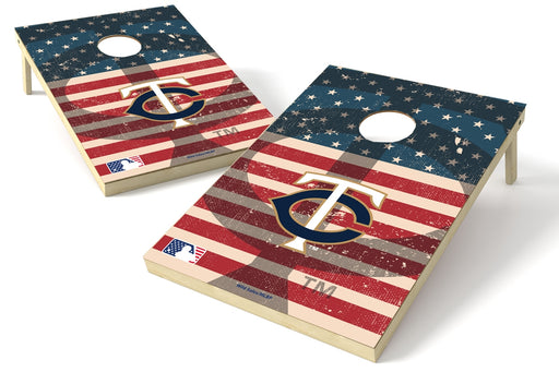 Minnesota Twins 2x3 Cornhole Board Set - American Flag Weathered