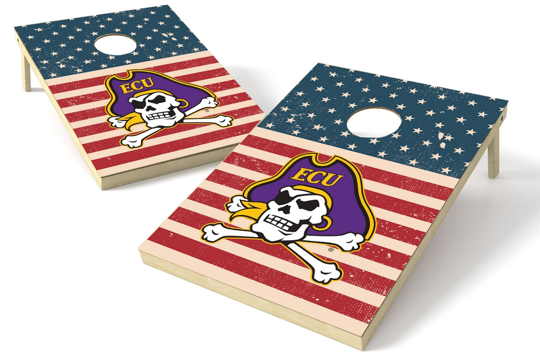 East Carolina 2x3 Cornhole Board Set - American Flag Weathered
