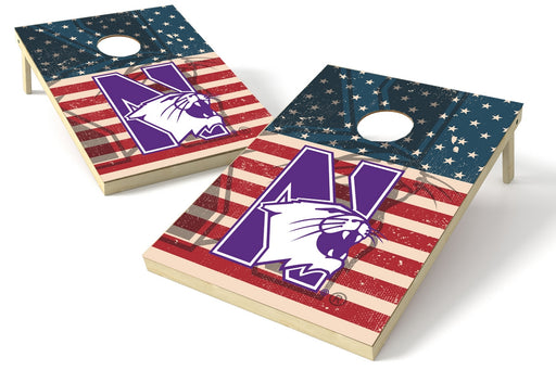 Northwestern Wildcats 2x3 Cornhole Board Set - American Flag Weathered