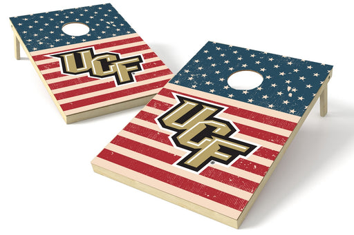 University of Central Florida 2x3 Cornhole Board Set - American Flag Weathered