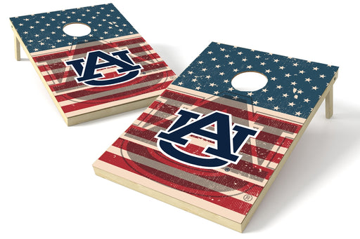 Auburn Tigers 2x3 Cornhole Board Set - American Flag Weathered