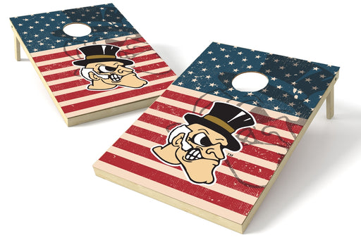 Wake Forest Demon Deacons 2x3 Cornhole Board Set - American Flag Weathered