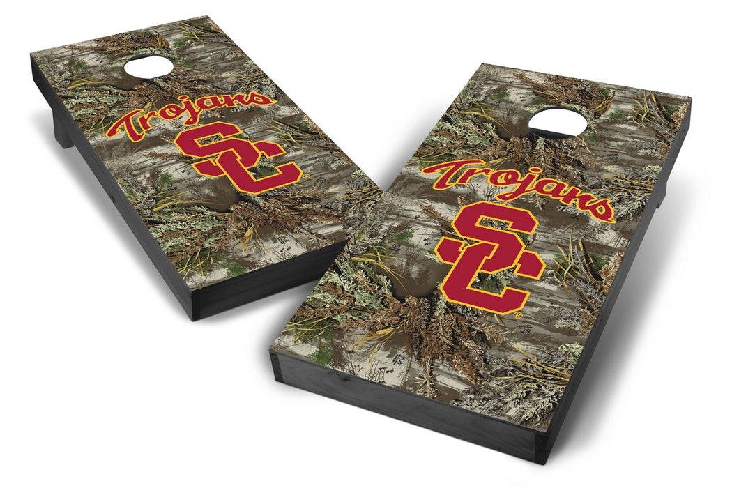 USC Trojans 2x4 Cornhole Board Set Onyx Stained - Realtree Max-1 Camo