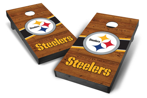 Pittsburgh Steelers 2x4 Cornhole Board Set Onyx Stained - Logo