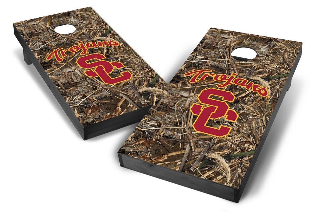 USC Trojans 2x4 Cornhole Board Set Onyx Stained - Realtree Max-5 Camo