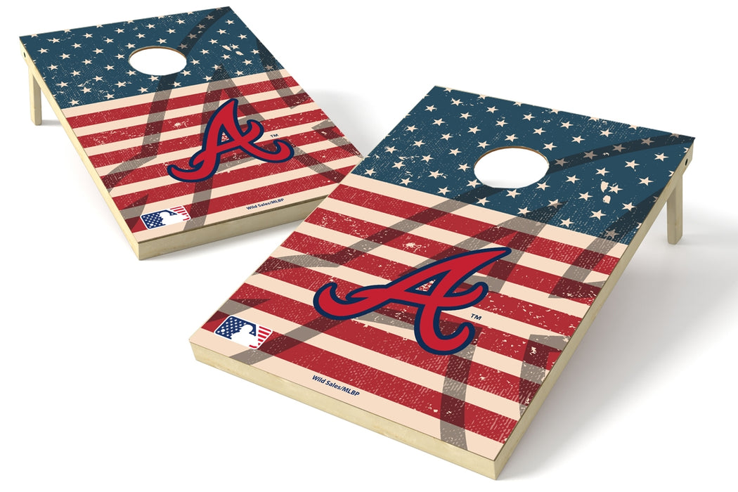 Atlanta Braves 2x3 Cornhole Board Set - American Flag Weathered