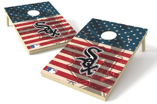 Chicago White Sox 2x3 Cornhole Board Set - American Flag Weathered