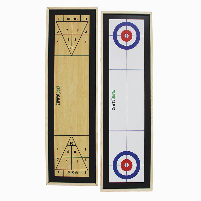Yard Games Curling and Shuffleboard 2 in 1 Table Top Game with 8 Rolling Discs