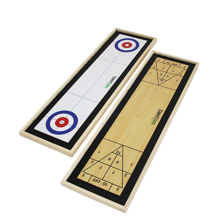 Curling and Shuffleboard 2 in 1 Table Top Game with 8 Rolling Discs