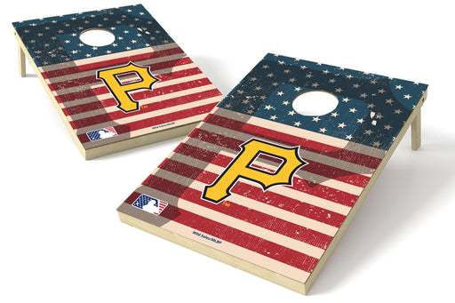 Pittsburgh Pirates 2x3 Cornhole Board Set - American Flag Weathered