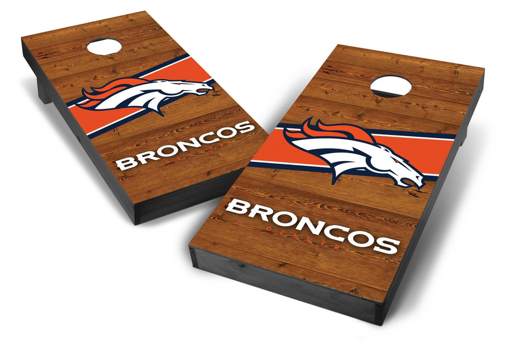 Denver Broncos 2x4 Cornhole Board Set Onyx Stained - Logo