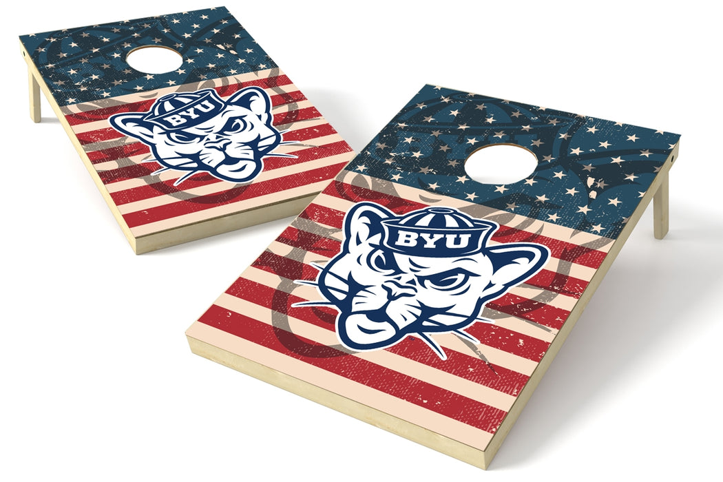 Brigham Young Cougars 2x3 Cornhole Board Set - American Flag Weathered