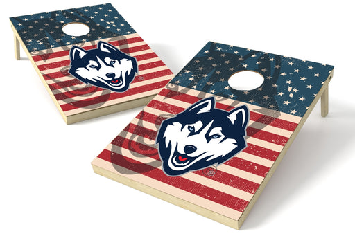 U Conn. Huskies 2x3 Cornhole Board Set - American Flag Weathered